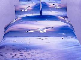 Splendid Flying Seagull 3D Bedding Sets 4 Piece