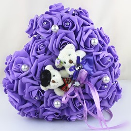 Romantic Purple Rose Ring Pillow Bear