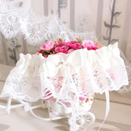 Free Size White Lace Bowknot Wedding Garter