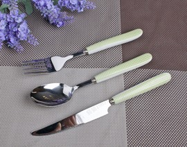 Stainless Steel Patterns of Green and White Square Serving Sets