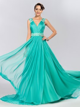 V-Neck Lace Appliques Green Long Evening Dress