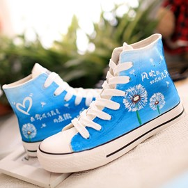 Korean Lace-up Hand-painted Canvas Shoes