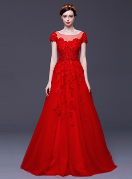 Dramatic Tulle Neckline Lace Short Sleeves Long Evening Dress