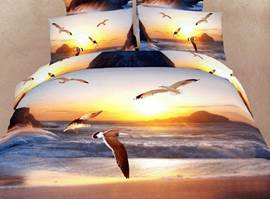 Wonderful Seagull and Sunset 3D Bedding Sets 4 Piece