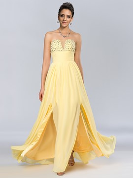 Chic A-line Strapless Beadings Floor-Length Prom Dress