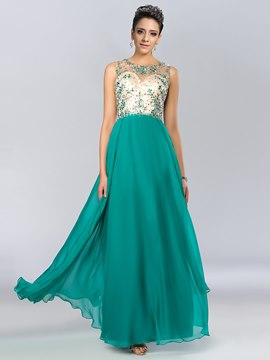 Charming A-Line Scoop Crystal Open Back Tulle Evening Dress