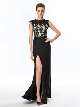 Vintage Cap Sleeves Side-Split Lace Sheath Evening Dress