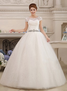 Cap Sleeves Lace Ball Gown Wedding Dress