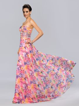 Sweetheart Beaded Floral-Print Long Evening Dress