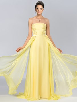 A-Line Strapless Appliques Chiffon Evening Dress