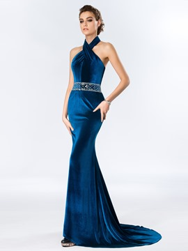 Halter Mermaid Crystal Court Train Evening Dress