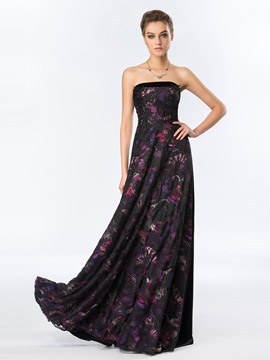 Timeless Strapless Appliques Floral Printing Lace Long Evening Dress