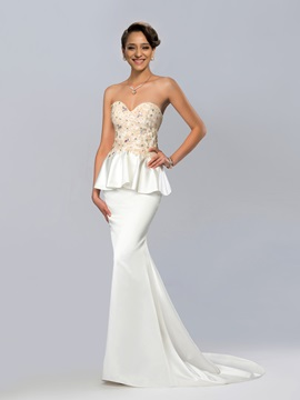 Sweetheart Crystal Court-Train Trumpet Evening Dress