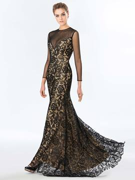 Charming Sheer Neck Long Sleeves Backless Lace Beading Long Evening Dress