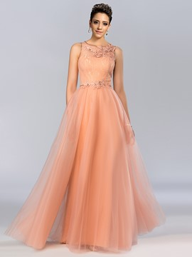 Gorgerous A-Line Sleeveless Appliques Floor-length Evening Dress