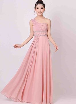 Charming A-Line One Shoulder Empire Pleats Bridesmaid Dress