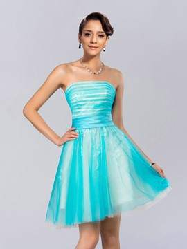 Concise Strapless A-Line Short Homecoming Dress