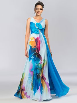 A-Line V-Neck Bowknot Printing Evening Dress