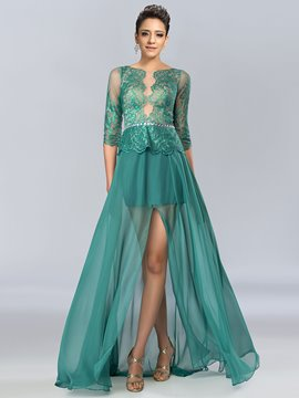 Sexy A-line Bateau NeckTulle Split-Front Evening Dress