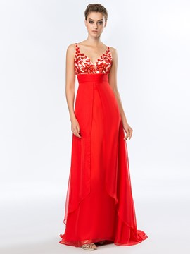 A-Line V-Neck Crystal Beadings Prom Dress