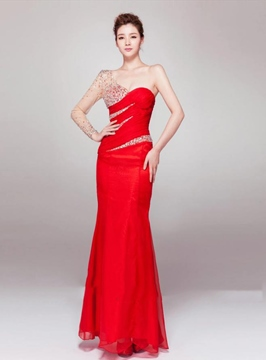 Terrific Ruched One-Shoulder A-line FLoor-Length Evening Dress