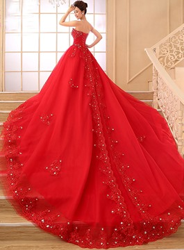 Strapless Beading Appliques Wedding Dress