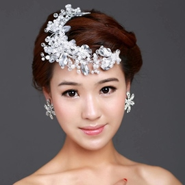 White Pearl Crystal Hair Flower
