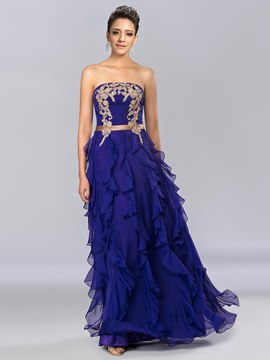 Strapless Appliques Floor Length Evening Dress