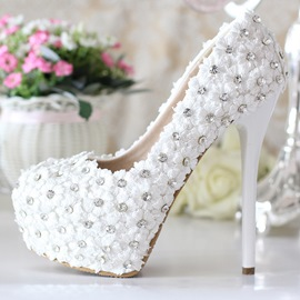 Ericdress White Lace Flower&rhinestone Wedding Shoes