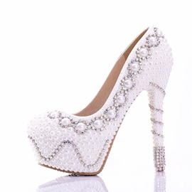 Ericdress Sweet White Rhinestone High-heel Wedding Shoes