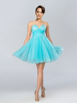 Sexy A-Line Jewel Tulle Bowknot Short Cocktail Dress