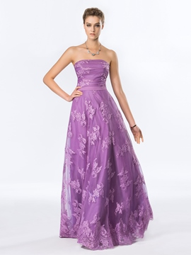 Strapless Lace A-Line Floor-Length Evening Dress