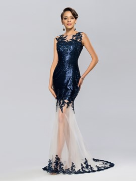Classic Jewel Neck Sequins Appliques Mermaid Evening Dress