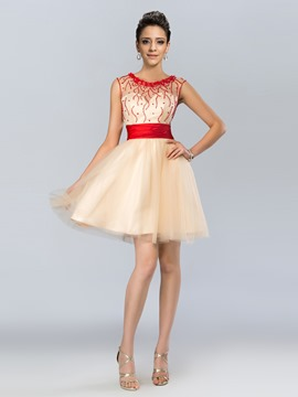 Cute A-Line Scoop Tulle Bowknot Short Prom Dress