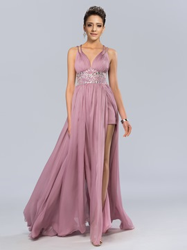 Sexy V-Neck A-Line Beadings Floor-Length Evening Dress