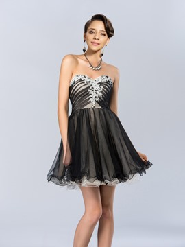 Modern Sweetheart Appliques Ruffles A-Line Short Cocktail Dress