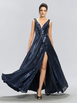 Sexy A-Line V-Neck Sequins Side-Split Floor-Length Evening Dress