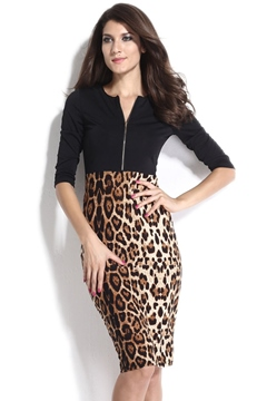 Leopard Front Zipper Half Sleeve Sheath Dress