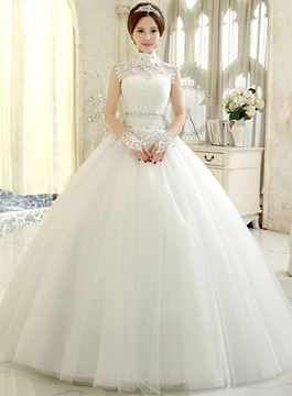 High-Neck Ball Gown Tulle Wedding Dress