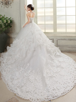 Ericdress Charming Strapless Appliques Beading Wedding Dress