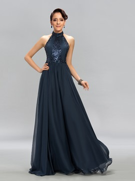 Superb A-Line Halter Neck Floor-Length Sequins Evening Dress