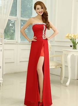 Simple Pretty Strapless Split-Front Column Prom Dress