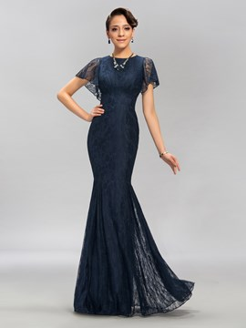 Charming Scoop Neck Short Sleeves Lace Mermaid Evening Dress