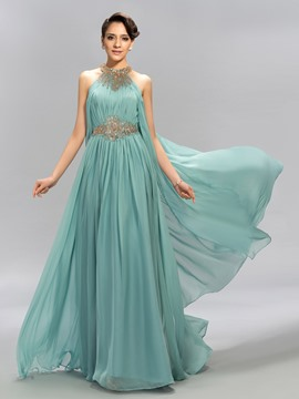 Charming Beaded Halter Neck Ruffles A-Line Long Chiffon Evening Dress