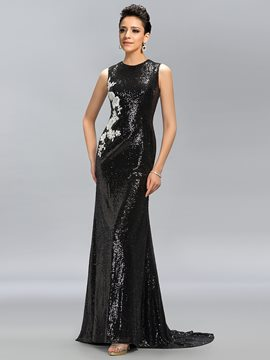 Vintage Scoop Sequins Sweep Train Evening Dress