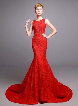 Convertible Mermaid Lace Court Train Evening Dress