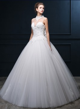 Ericdress Vogue High Neck Appliques Ball Gown Wedding Dress