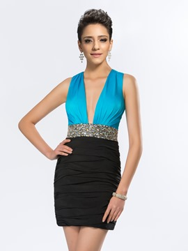 Sexy Deep V-Neck Crystal Mini Cocktail Dress