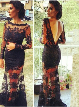 Ericdress Sexy Depp Back Long Sleeve Lace Evening Dress