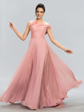 One Shoulder Short Sleeve A-Line Floor-Length Evening Dress